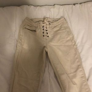 Blank NYC ivory lace up jeans
